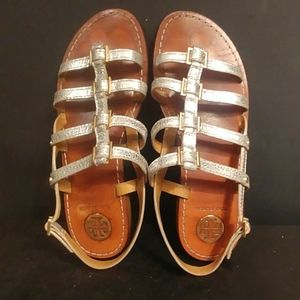 Tory Burch silver strappy sandals as 9 M